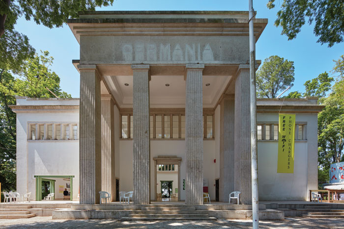Openings have been knocked through the imposing structure of the German pavilion