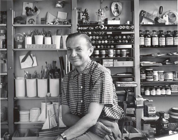 Alexander Girard, in his studio in the early Fifties, photographed by Charles Eames. Photo: Charles Eames, Courtesy Vitra Design Museum