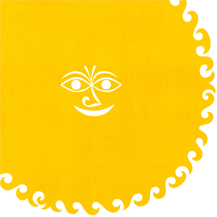A decorative silkscreen design titled Old Sun from Girard's Environmental Enrichment Panels for Herman Miller, 1971. Photo: Vitra Design Museum, Alexander Girard Estate