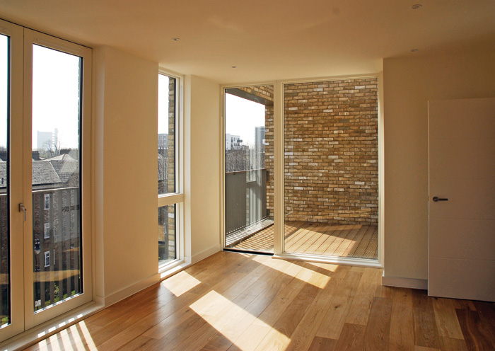 Floor-to-ceiling windows and floors allow the dwellings to be flooded with light