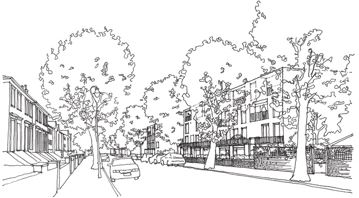 Alison Brooks Architects sketch for the Ely Court project