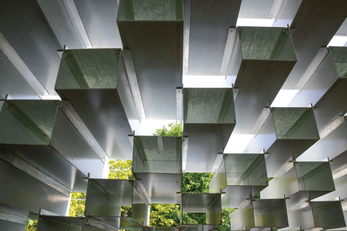 The bricks are extruded to create a sculptural space inside the pavilion