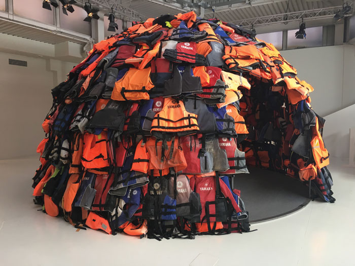 Save Our Souls installation for Moroso, by 16-year-old Achilleas Souras, uses discarded refugee lifejackets