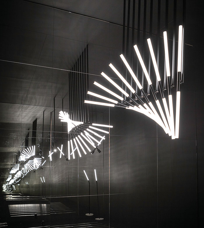 OMA's XY180 for Deltalight in an infinity-mirror room in a palazzo in Brera