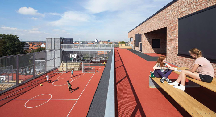 View from Aarhus' first new city-centre school in a century, HenningLarsen Architects & SMAK Architects, Frederiksberg High. ImageCredit: Hufton+Crow