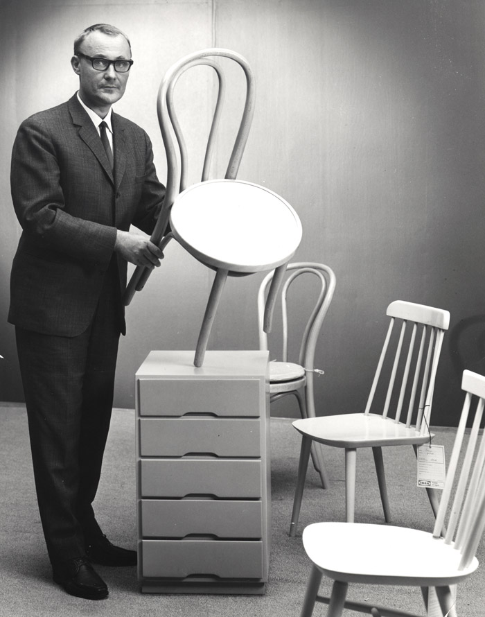 IKEA founder Ingvar Kamprad with ÖGLA chair, SAMPO chair, IDUN chair, TORE drawer unit, from years gone by