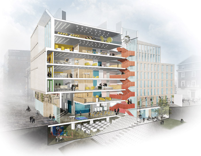 An axonometric showing the building's new staircase, designed to improve wayfinding and foster interaction throughout the building