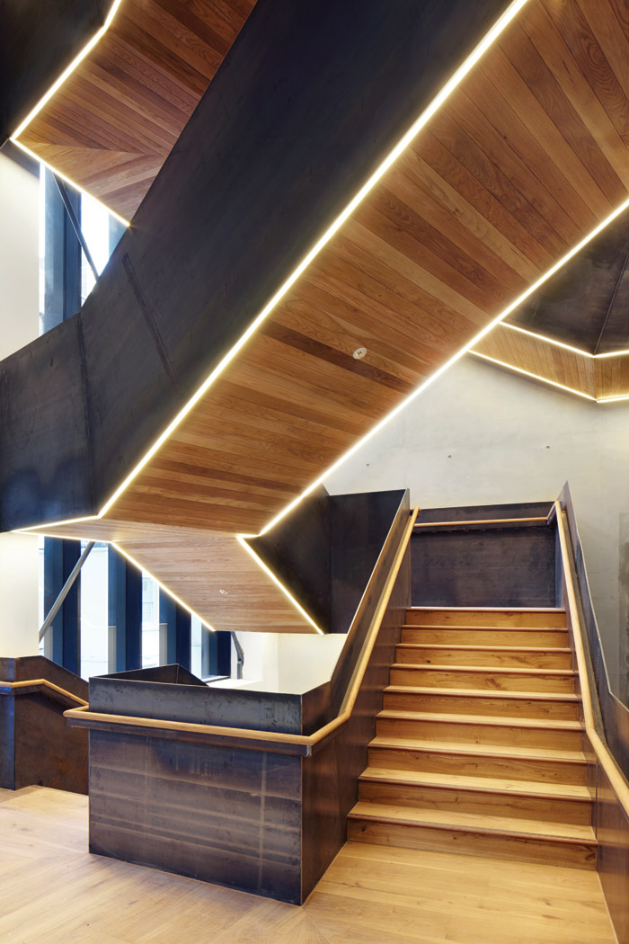 A new staircase was conceived to connect students and staff and act as a 'social generator'