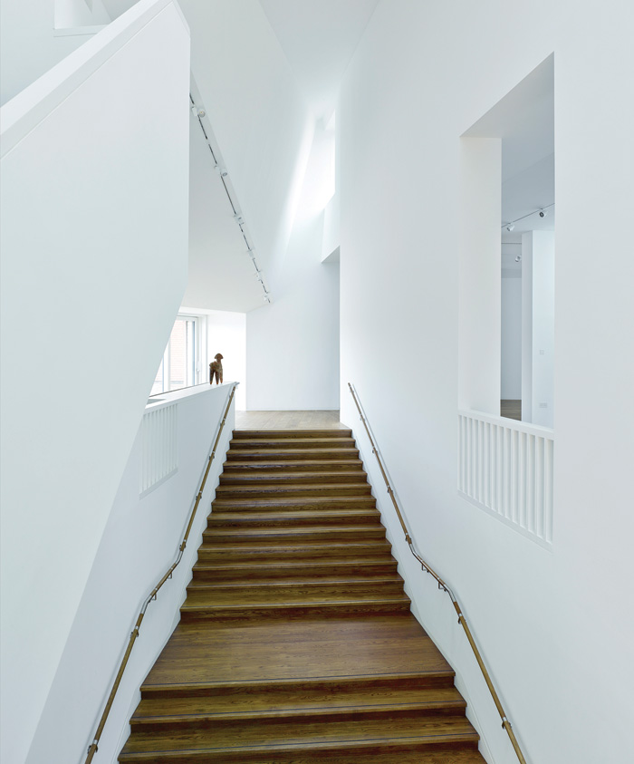 A wide timber staircase leads up to the communal iiving space