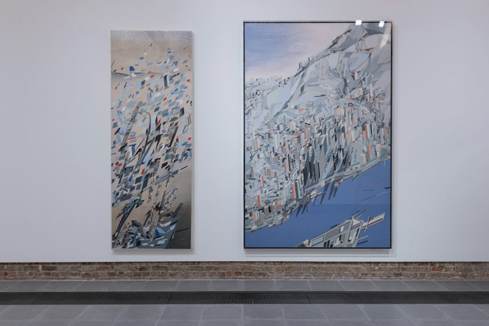 The Peak, Hong Kong, China: Confetti: Suprematist Snowstorm, 1983 (left); Blue Slabs, 1983