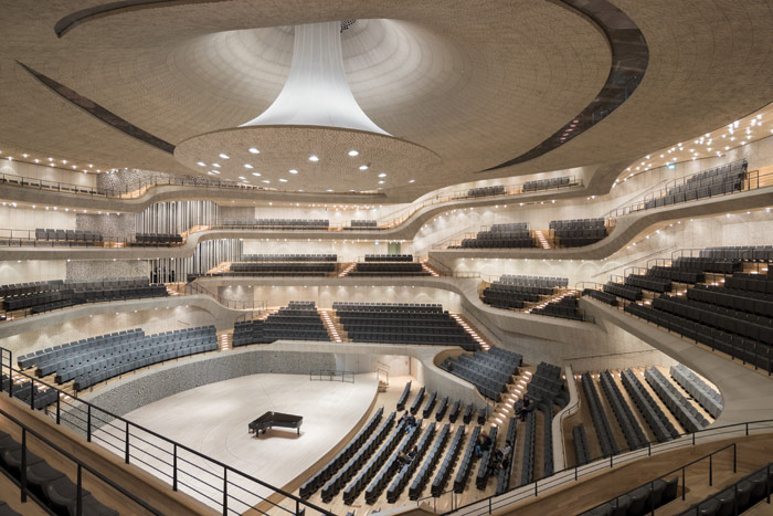 The Grand Concert Hall, a vast example of the 'vineyard' seating approach. Image Credit: Iwan Baan
