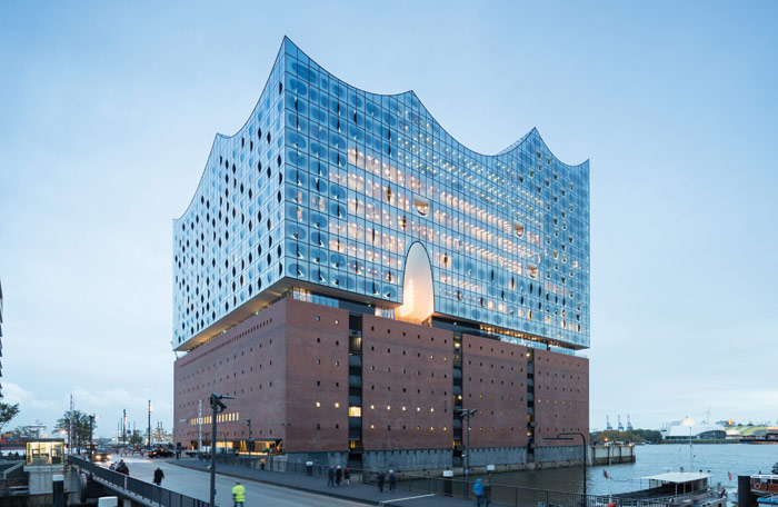 The Elbphilharmonie from the north, showing its entrance from street level on its east side. Image Credit: Iwan Baan