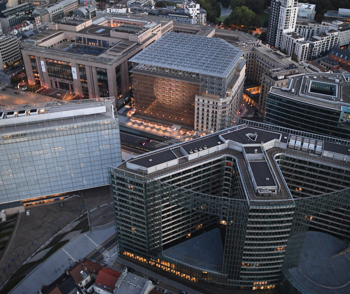 The Europa building is flanked by the Justus Lipsius and Lex buildings on Rue de la Loi. A wing of the Berlaymont is visble (left). Behind Europa is another Résidence Palace block. Image Credit: European Union