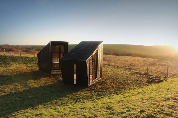Nomadic building - The Observatory, in early morning sunlight. Image Credit: Feilden Clegg Bradley Studios
