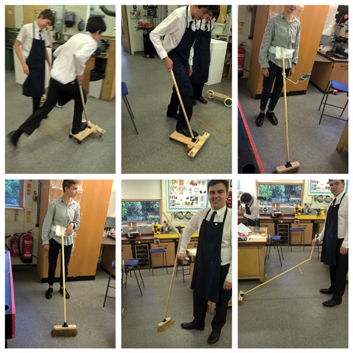 Schoolchildren at Falinge Park High School in Rochdale are asked to adapt a broom in such a way as to make it more suitable for a specific situation. One turns it into a skateboard, another adds a phoneholder so they can browse on their smartphone while sweeping