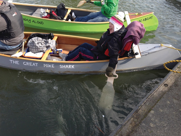 Heidi needed a bespoke canoe paddle so she could complete her Duke of Edinburgh's award expedition. The paddle is mounted on a sliding rig mechanism which enables her to control it independently. Image Credit: Maya Alvarado