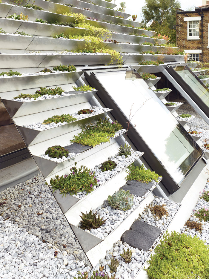 The stepped stainless-steel trays provide level beds for hardy sedum and alpine plants