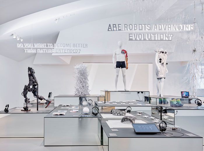 Do you want to become better than nature intended; Are robots advancing evolution? Exhibits here include Anouk Wipprecht's Spider Dress 2.0 and Francis Bitonti Studio's Molecule Shoes, both items 3D printed