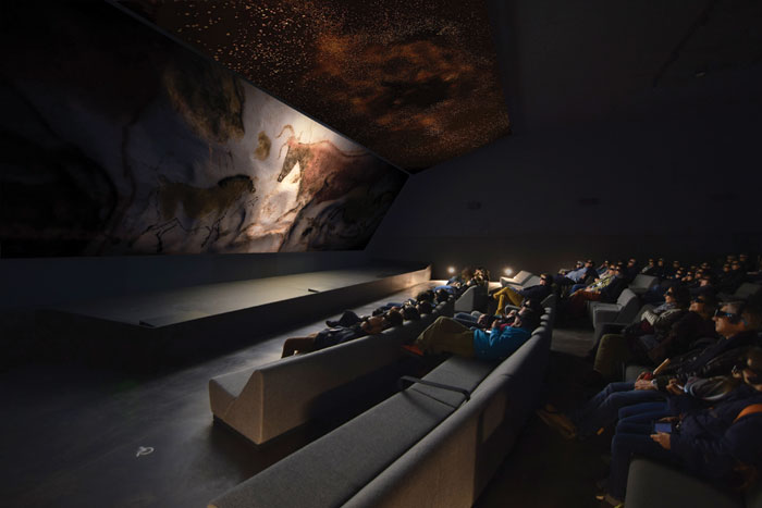 Exhibition rooms include a 3D cinema that takes visitors on a digital voyage through the caves and to others in Australia, Mongolia and Spain. Image Credit: Eric Solé
