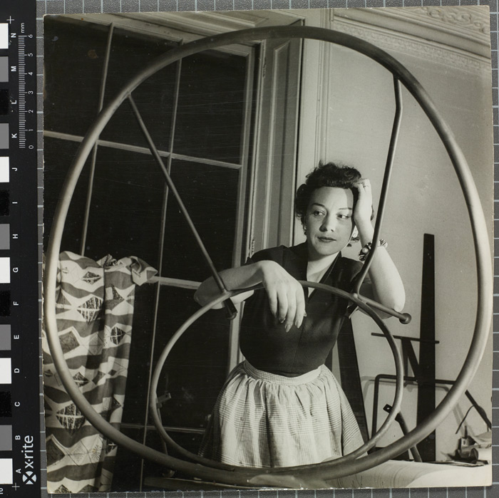 Lucienne Day with Allegro (1952) at Motcomb Street studio, c 1952. Image Credit: Photographer: Michael Wickham