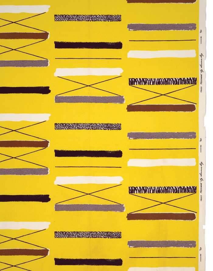 Mezzanine furnishing fabric for Heal's Fabrics (1958). Image Credit: Robin & Lucienne Day Foundation. Collection of Jill A. Wiltse and H. Kirk Brown III, Denver