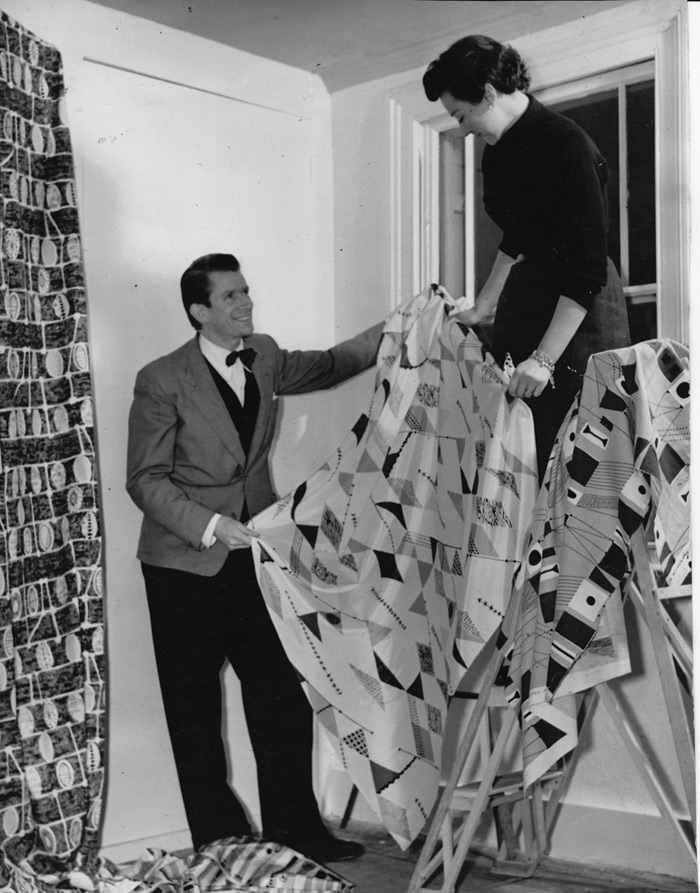 The Days draping curtain fabrics in their Cheyne Walk living room, early Fifties. Image Credit: Robin & Lucienne Day foundation. Collection of Jill A. Wiltse and H. Kirk Brown III, Denver