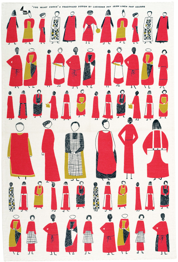Too Many Cooks tea towel for Thomas Somerset, 1959. Image Credit: Robin & Lucienne Day foundation. Collection of Jill A. Wiltse and H. Kirk Brown III, Denver