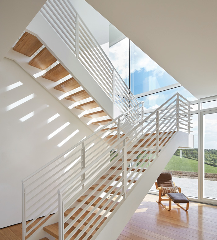 With two staircases, a large portion of the house is given over to circulation