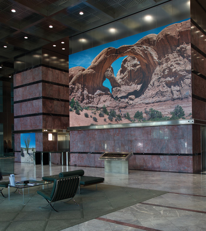The sumptous marble lobby hosts art shows, in this case Boyd and Evans photography show Big Landscapes over summer 2016