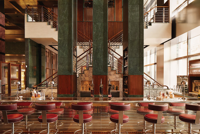 The One Canada Square Restaurant and Bar has taken the lobby's red and green marble as a starting point for its classical/contemporary look