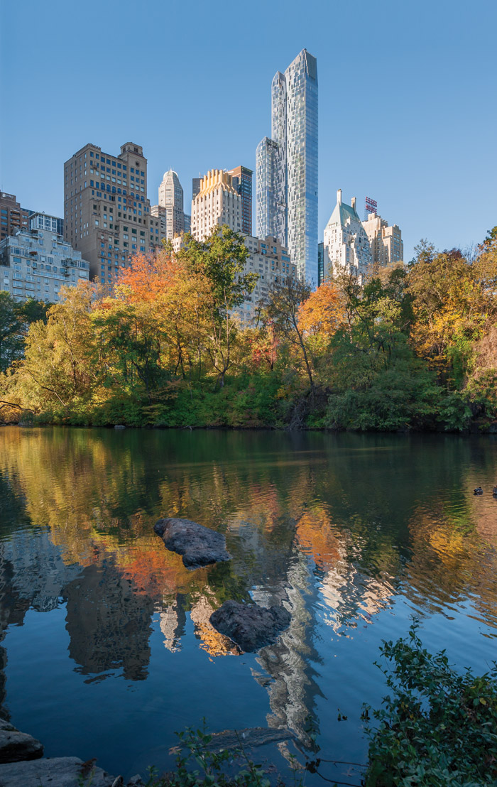 One57 rises above a varied cityscape overlooking Central Park from the south. Photography - Wade Zimmerman