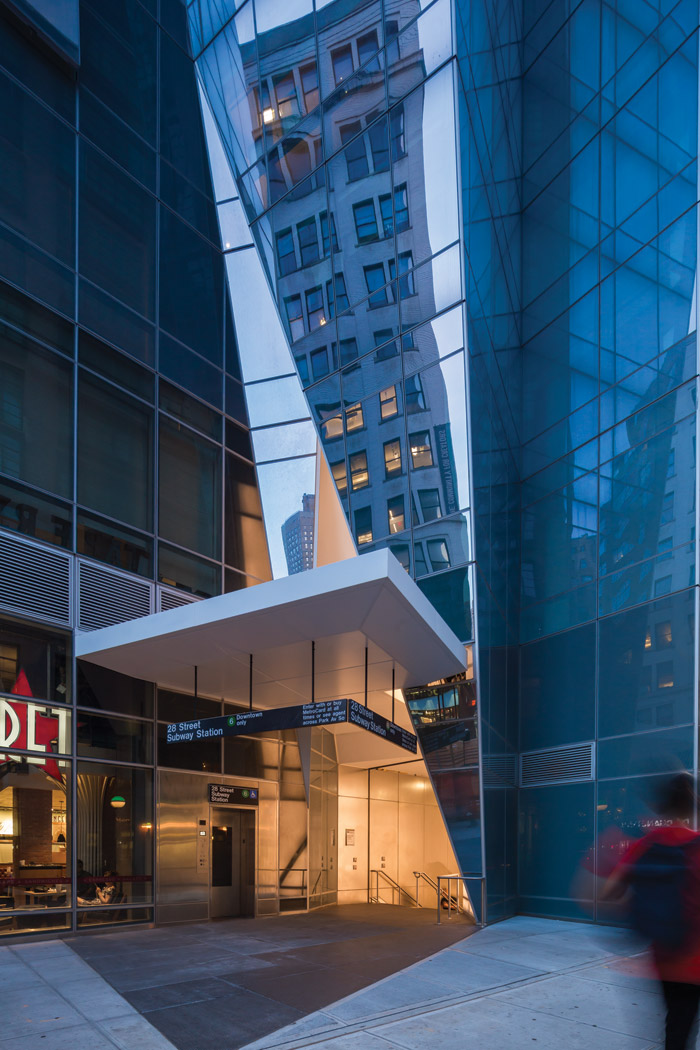 A new subway entrance is incorporated into 400 Park Avenue South. Photography - Wade Zimmerman