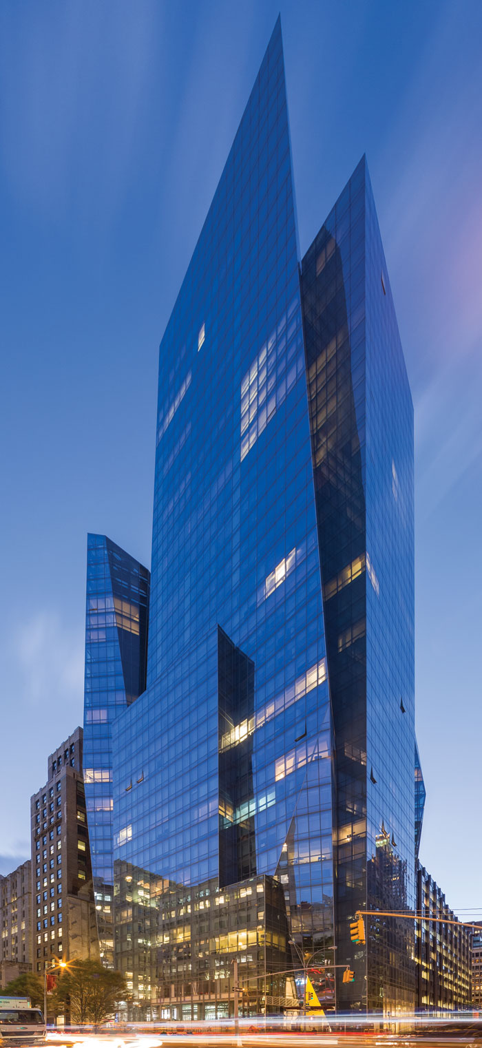 400 Park Avenue South's oblique facades fracture the volume into an angular composition.  Photography - Wade Zimmerman