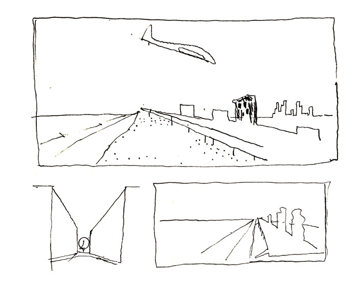 Sketches of Coney Island made by de Portzamparc in 1966 include a plane landing at JFK