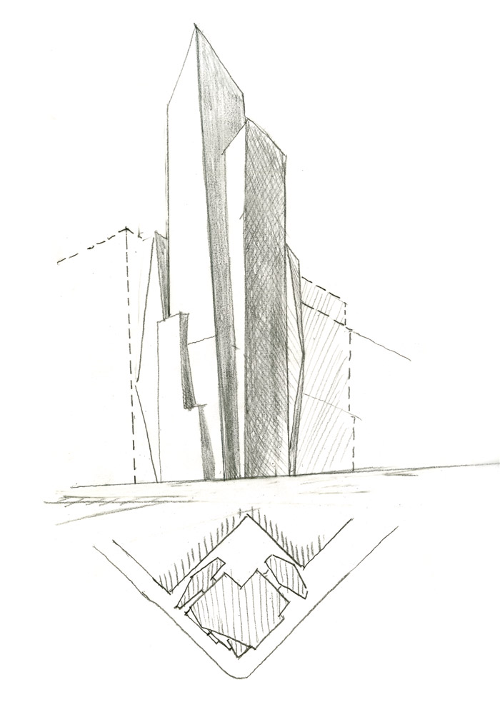 Sketches of the fi nal form and plan of 400 Park Avenue South