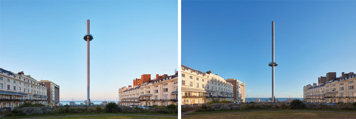 Various views of the i360 as seen from the elegant Regency Square