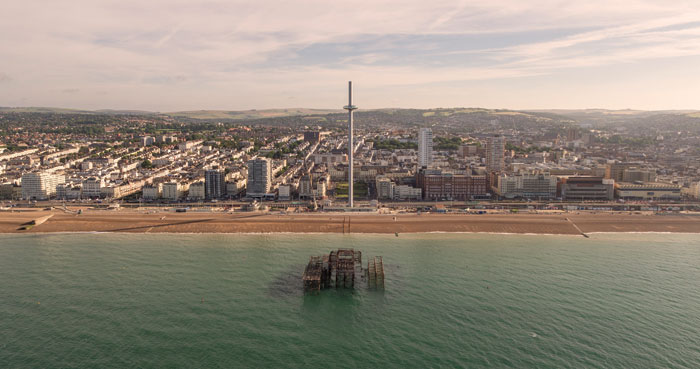 A drone's eye view of Brighton's new dramatically altered skyline