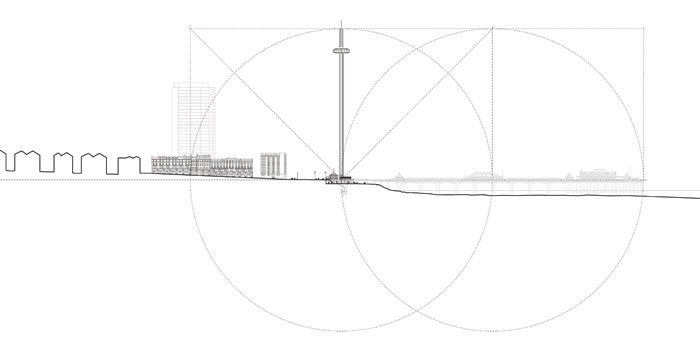 Elevation drawing of the i360 in Brighton showing the size relationship to the pier