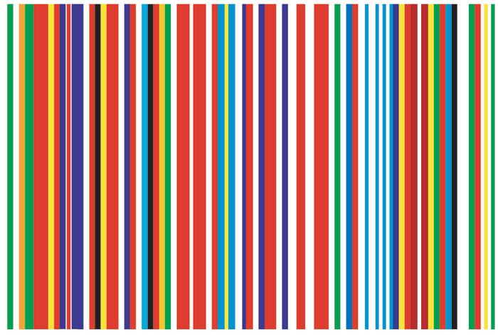 A 'barcode' which merged the flags of current EU member states into a new representative flag. Photo: Österreichische Präsidentschaft / Hopi-Media / Georges Schneider