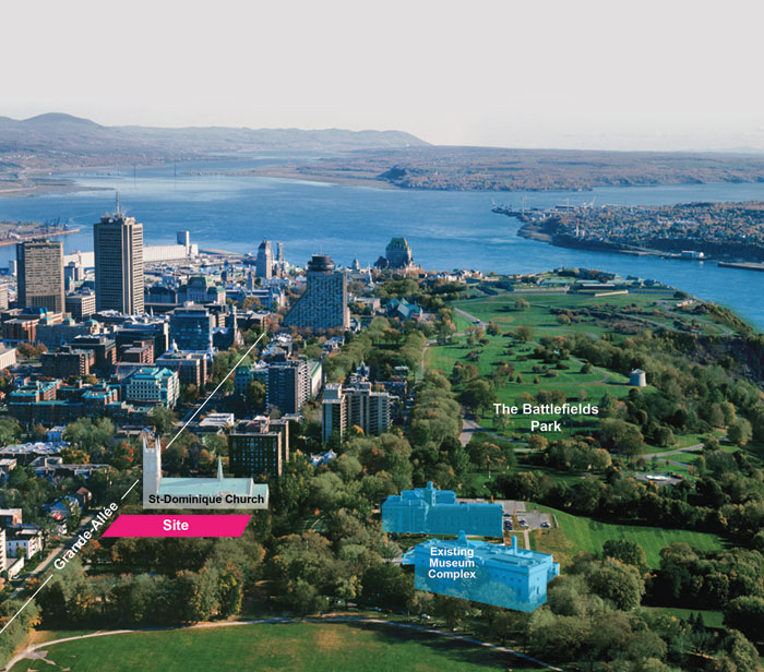 Overview, showing the site of the new building in relation to the existing buildings. Image: OMA / Site Aerial