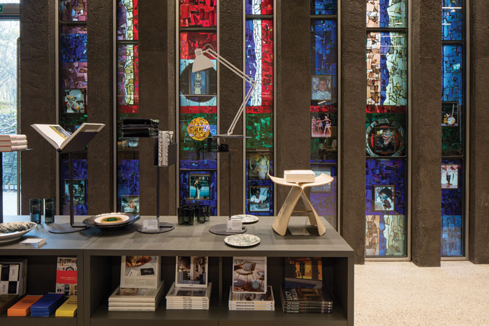 The design museum's shop incorporates original stained glass windows, relocated as part of the conversion of the building to its new use