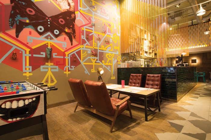 Wahaca, Kentish town: 'Another great client that came back to us after we worked with them on the opening of their restaurant in St Paul's', Bark says. Wahaca's Kentish Town restaurant also features Bark's popular Acorn Two Seater.