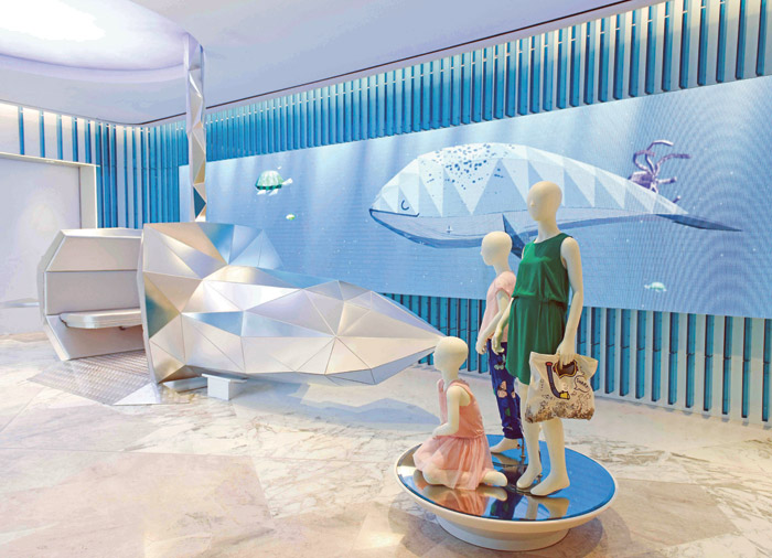 The three floors of Level Kids children's store in Dubai, designed by Fitch, take the customer on a fantasy journey under the sea, across the savannah and into the sky, capturing a sense of childhood imagination and fun. The project has just won Best International Store Design of the Year at the Retail Week Interiors Awards