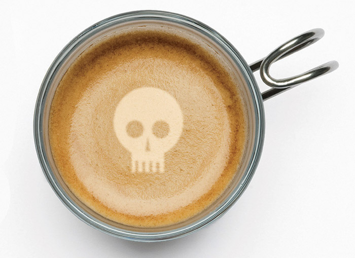 Death-themed crockery cand be found in use at the Death Cafés, including this skull decorated coffee cup, for the tea and cake that's served