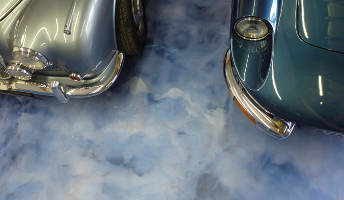 Most people don't worry about spills on the garage floor – but when the garage is full of vintage motors it's a different story. Here, Addazing resin flooring in Galaxy Blue, by Addagrip, has been used to give an easy-to-clean finish and attractive pearlised shine.
