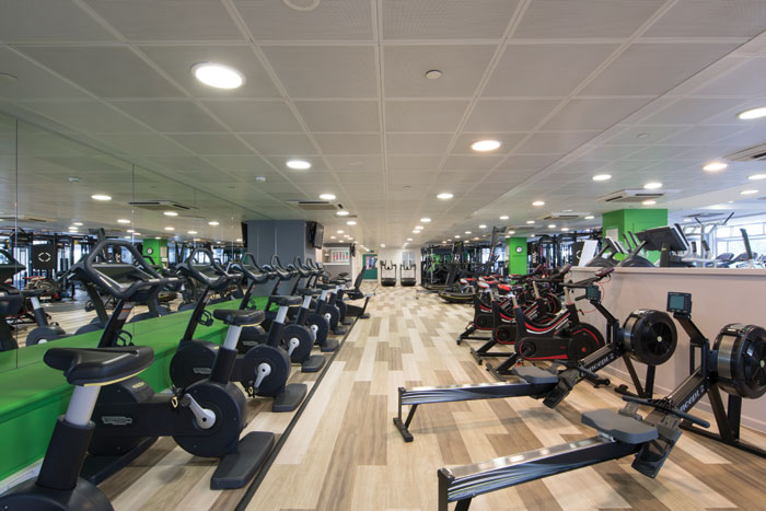 Milliken's Luxury Vinyl Tiles have a transparent wear layer that makes them both easy to clean and resistant to scuffs and scrapes. Here they have been used at the refit of the Credit Suisse gym run by Nuffield, another kind of location where hygiene is taken seriously.