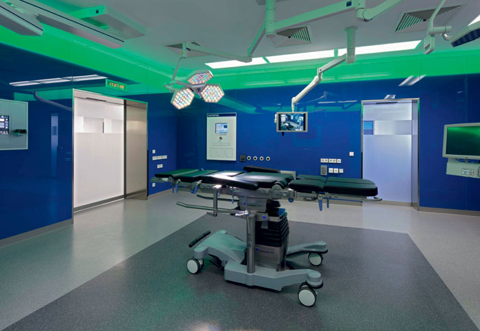 Rubber floorcovering from Nora is seamless and can be rigorously disinfected without sustaining damage, making it suitable for Germany's tough legal requirements for hospitals. Shown is the Marien-Hospital in Marl, Germany.