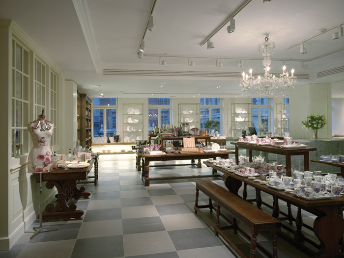 Kitchenware and china is displayed in a stately home setting at Fortnum & Mason – familiar to some customers, aspirational to others