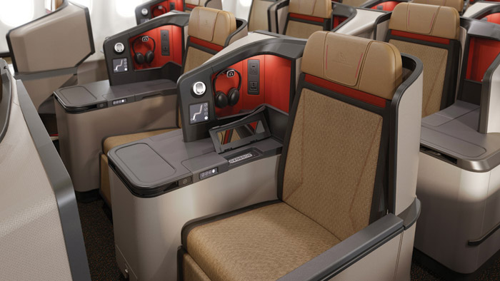 Seating in the business class features Thompson Vantage XL seating, with its own integral cocktail table and personal stowage