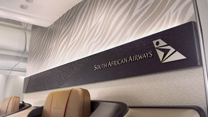 Branding panel in the business-class cabin